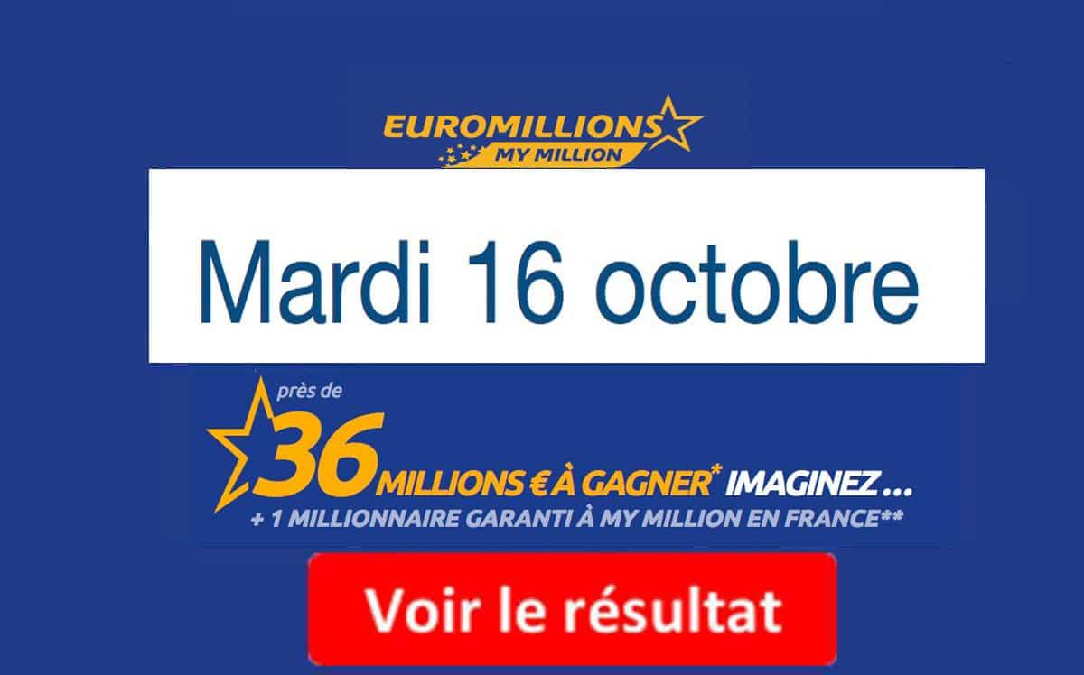 résultat euromillion mardi 16 octobre 2018