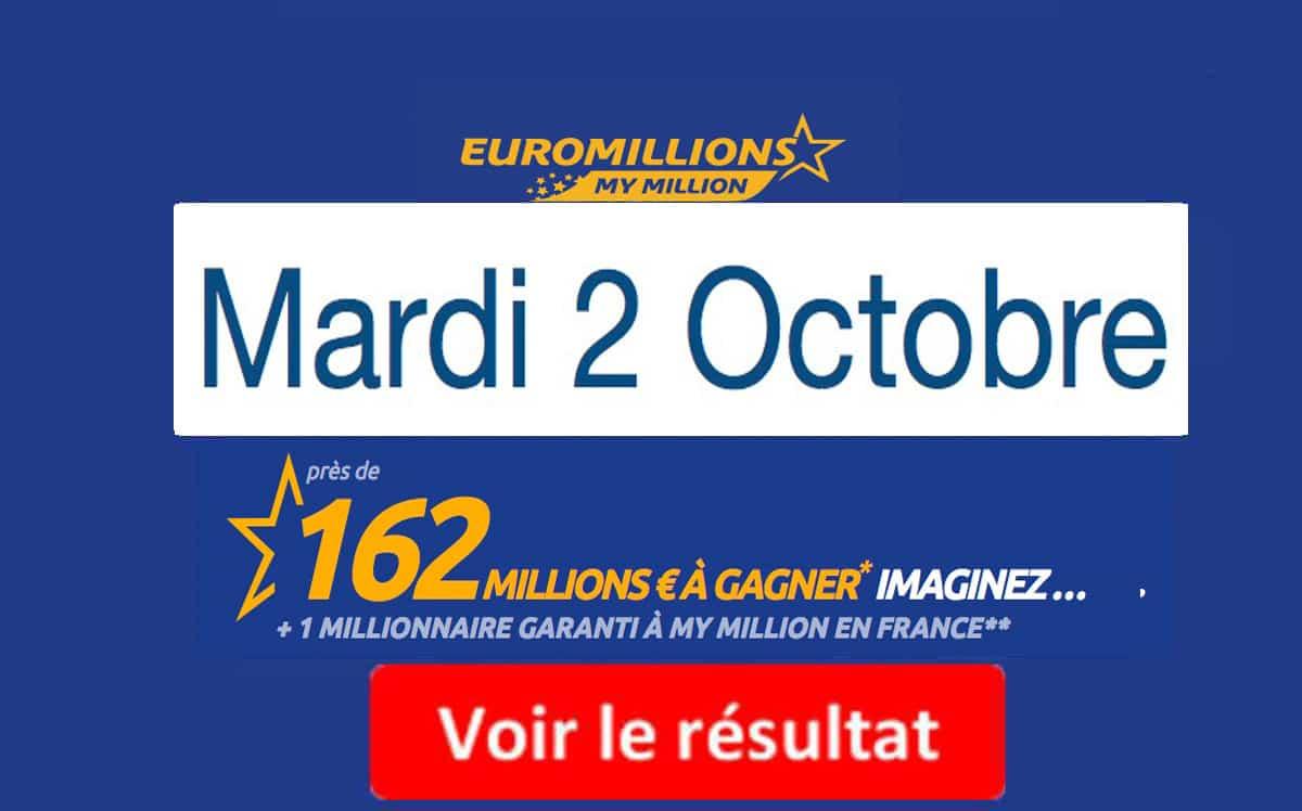résultat euromillions mardi 2 octobre 2018