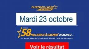 Résultat Euromillions, My Million (FDJ) tirage du Mardi 23 Octobre 2018 [En Ligne]