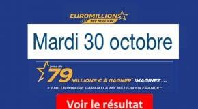 Résultat Euromillions, My Million (FDJ) tirage du Mardi 30 Octobre 2018 [En Ligne]