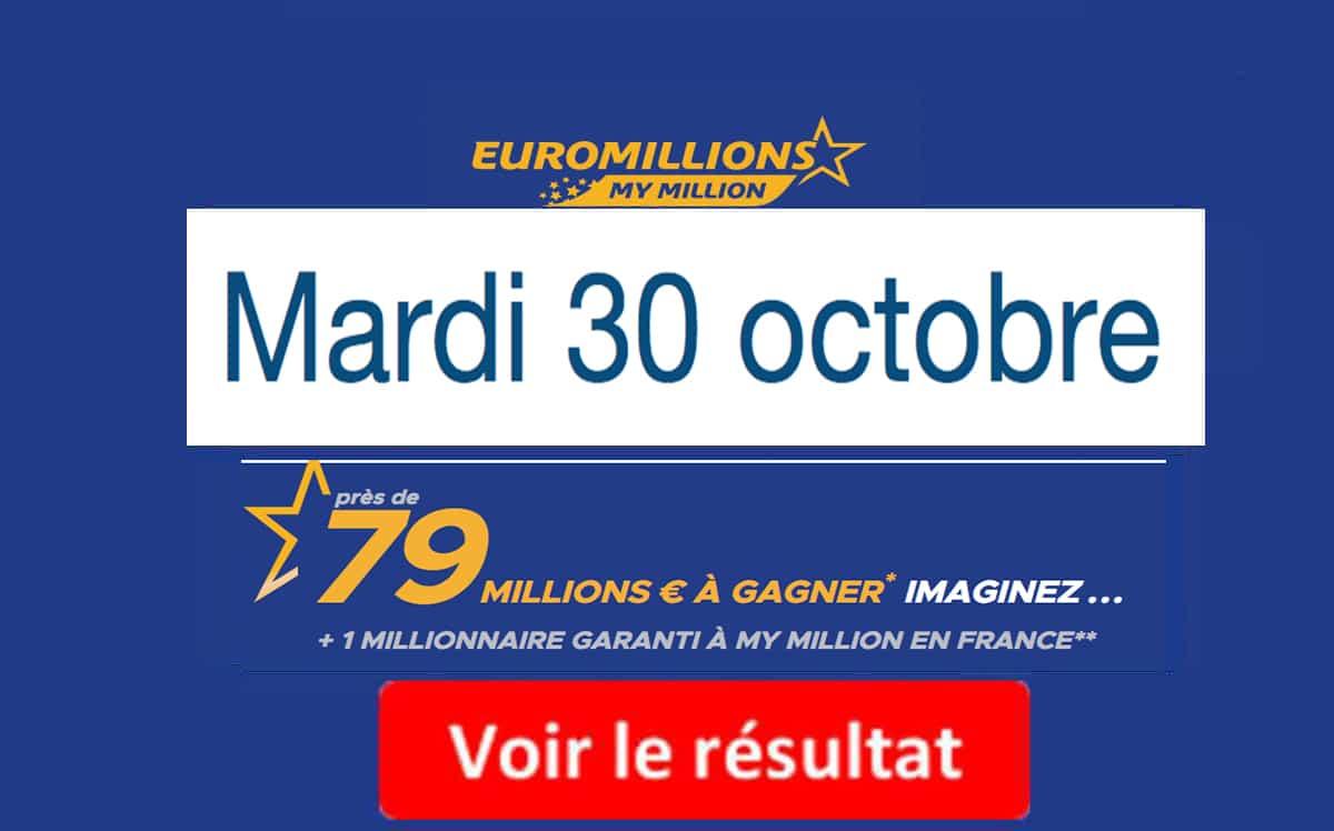 résultat euromillions mardi 30 octobre 2018