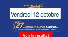 Résultat Euromillions, My Million (FDJ) tirage vendredi 12 octobre 2018 [En Ligne]