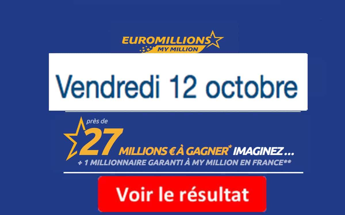 résultat euromillions vendredi 12 octobre 2018