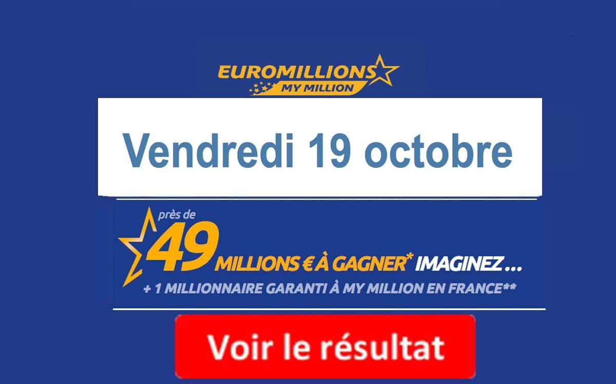 résultat euromillions vendredi 19 octobre 2018