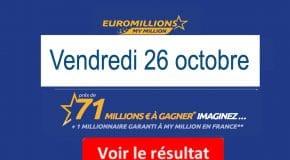 Résultat Euromillions et My Million (FDJ) Vendredi 26 octobre 2018 [En Ligne]