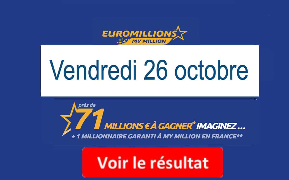 resultat euromillion 26 octobre 2018