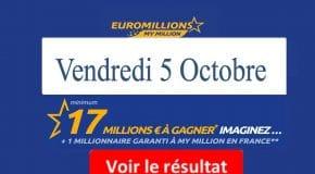 Résultat Euromillions, My Million (FDJ) vendredi 5 Octobre 2018 [En Ligne]