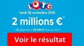 FDJ: Résultat LOTO tirage du Lundi 26 Novembre 2018 [En Ligne]