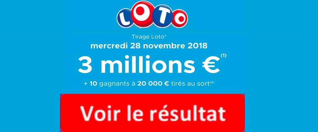 resultat loto 28 novembre 2018