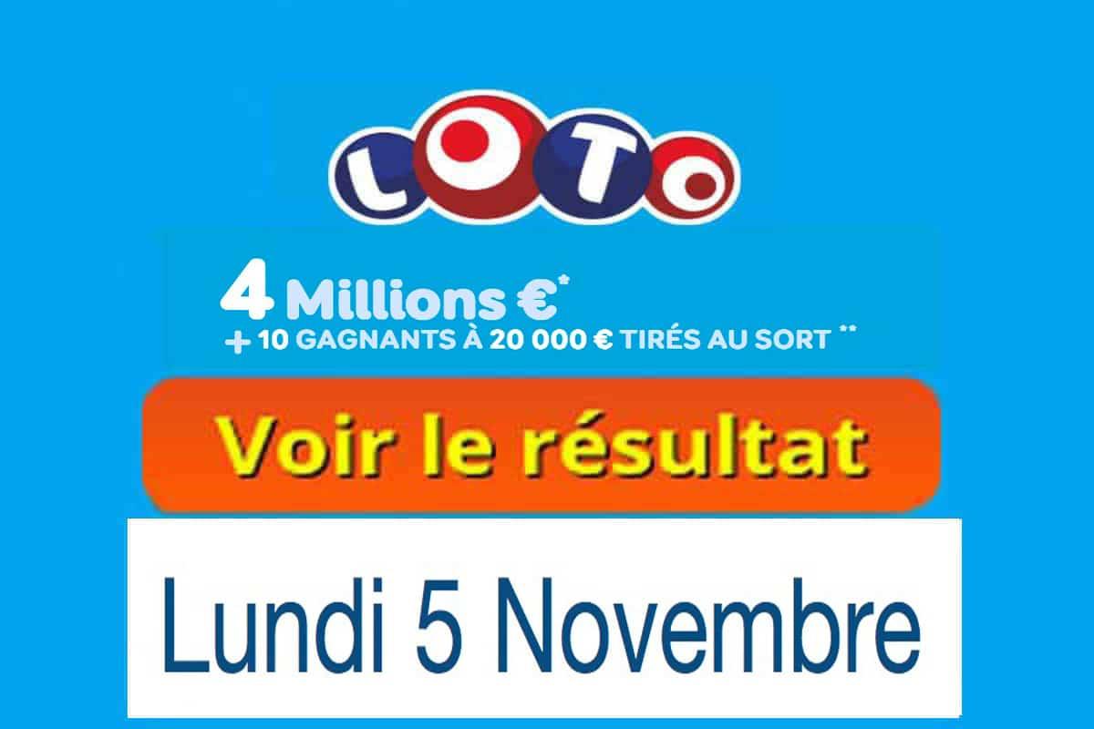 résultat loto 5 novembre 2018
