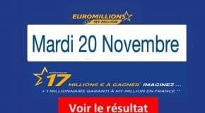 FDJ: Résultat Euromillions, My Million tirage du Mardi 20 Novembre 2018 [En Ligne]