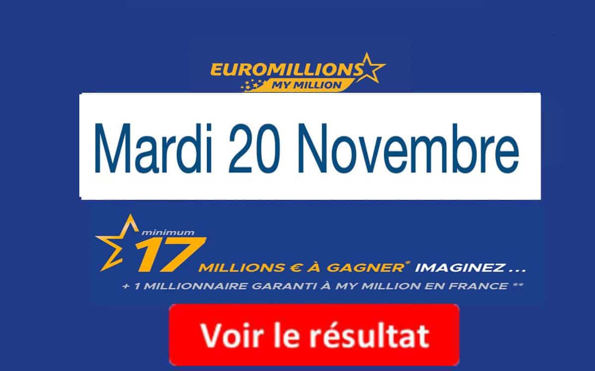resultat euromillion mardi 20 novembre 2018