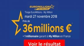 Résultat Euromillions, My Million (FDJ) du Mardi 27 Novembre [En Ligne]