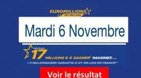 FDJ : Résultat Euromillions, My Million du Mardi 6 Novembre 2018