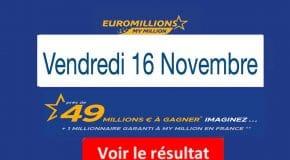 FDJ: Résultat Euromillions, My Million tirage vendredi 16 novembre 2018 [En Ligne]
