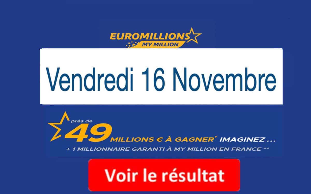 resultat euromillions vendredi 16 novembre 2018