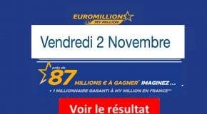 Résultat Euromillions, My Million (FDJ) tirage Vendredi 2 Novembre 2018 [En Ligne]