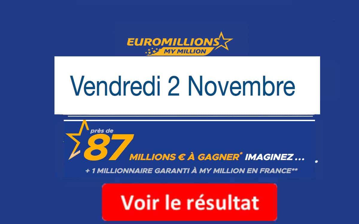 resultat euromillion vendredi 2 novembre 2018