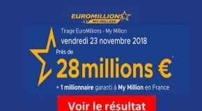FDJ: Résultat Euromillions, My Million tirage du Vendredi 23 Novembre 2018 [En Ligne]