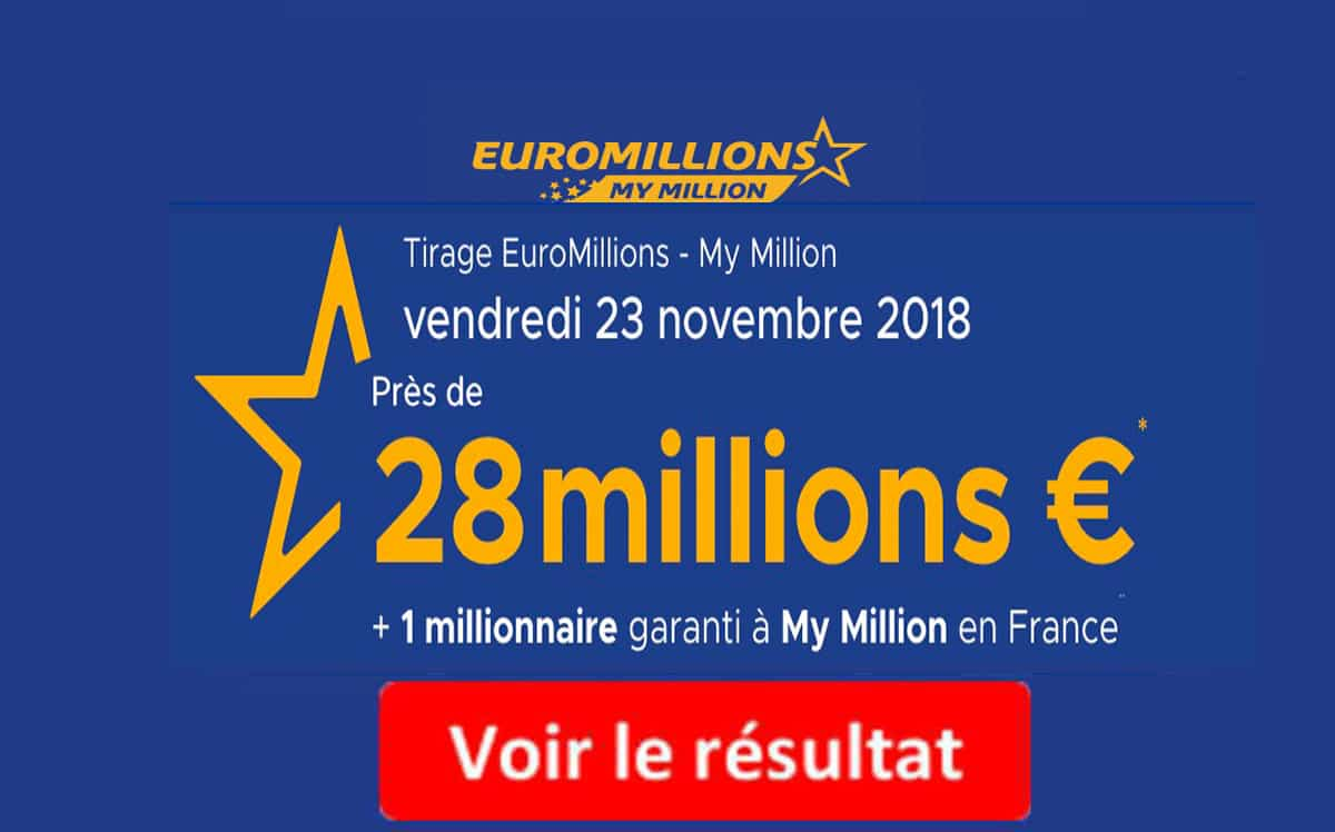 resultat euromillions vendredi 23 novembre 2018
