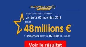 Résultat Euromillions et My Million (FDJ) vendredi 30 Novembre 2018 [En Ligne]