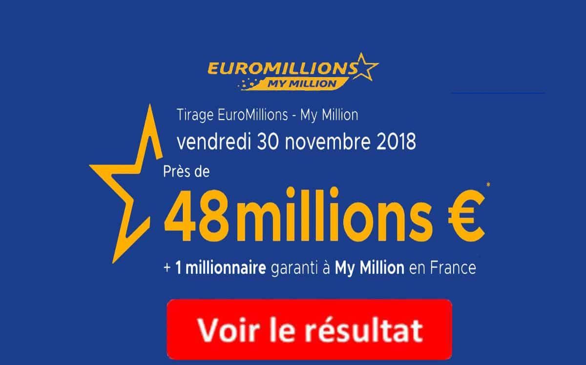 résultat euromillions vendredi 30 novembre 2018