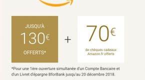 BforBank code promo : 130€ offerts + 70€ en bon d'achat Amazon ici