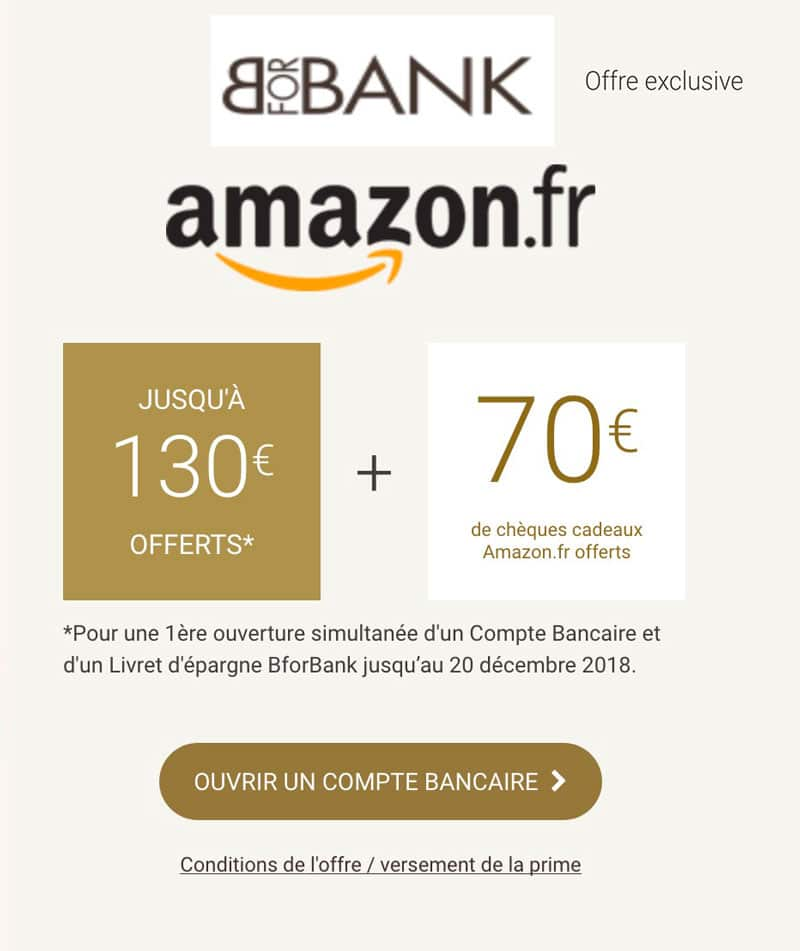 bforbank offre code promo amazon