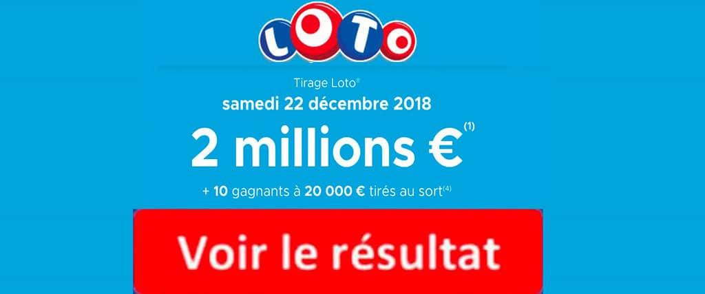 résultat loto 22 decembre 2018