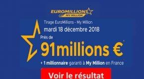FDJ: Résultat Euromillions et My million tirage du Mardi 18 Décembre 2018