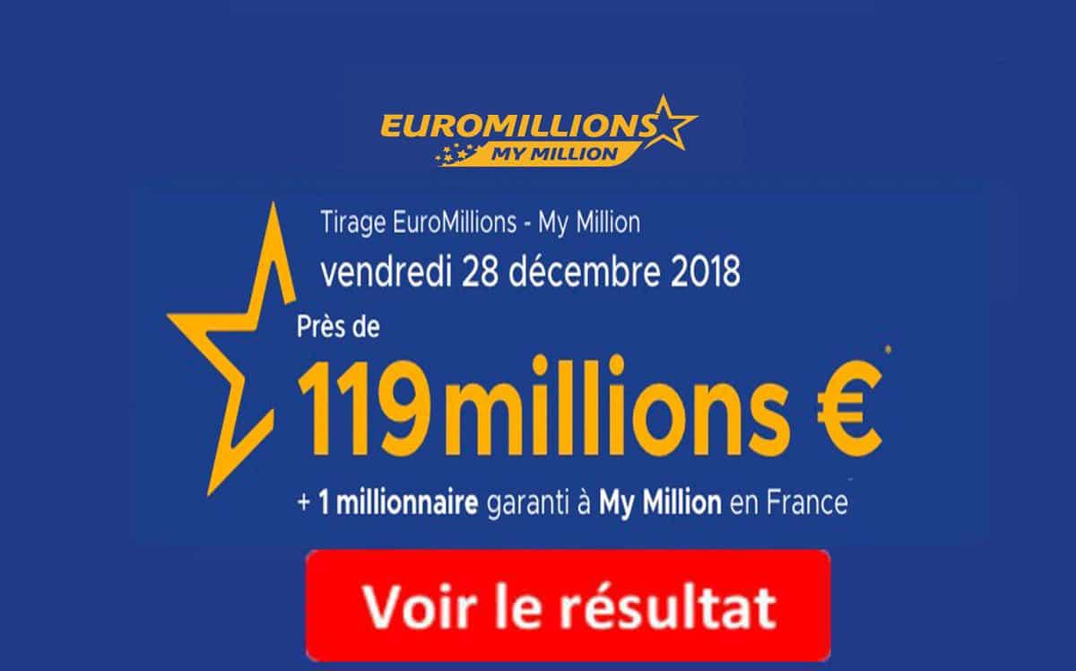 resultat fdj euromillion mardi 28 decembre 2018
