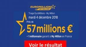 FDJ: Résultat Euromillions, My Millions tirage du Mardi 4 Décembre 2018 [En Ligne]