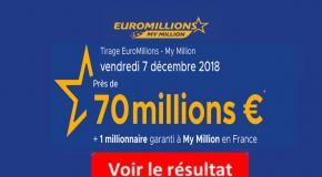 FDJ: Résultat Euromillions et My Million du Vendredi 7 décembre 2018 [En Ligne]