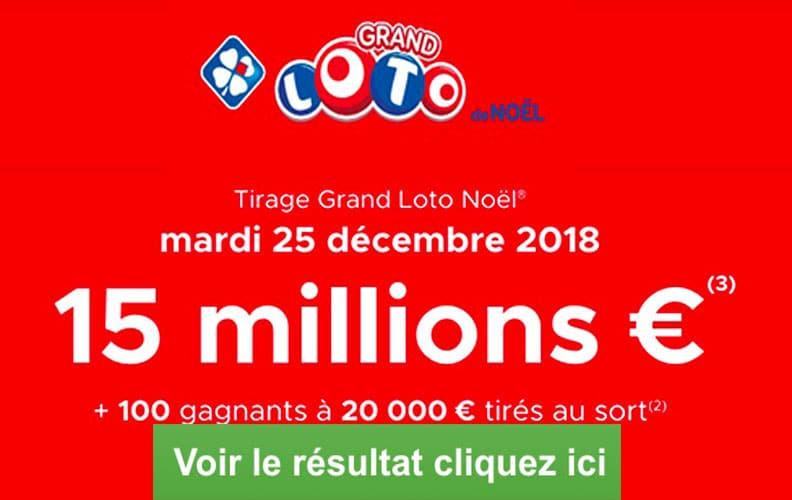 resultat loto noel 25 decembre 2018