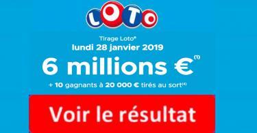 resultat loto 28 janvier 2019