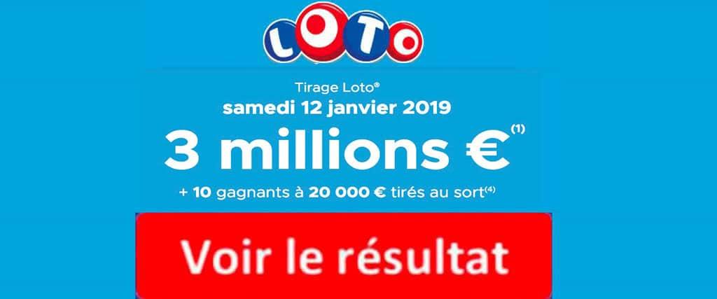 resultat loto 12 janvier 2019