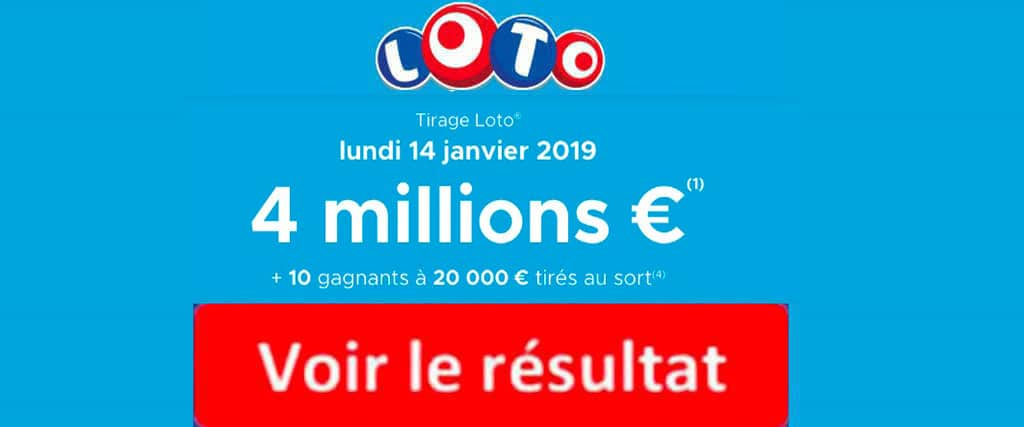 resultat loto 14 janvier 2019 tirage FDJ