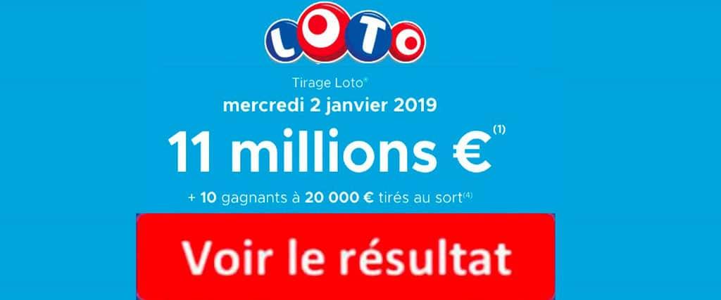 fdj résultat loto 2 janvier 2019