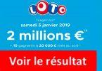resultat loto 5 janvier 2019 tirage fdj