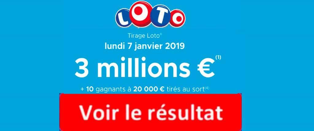 resultat loto 7 janvier 2019