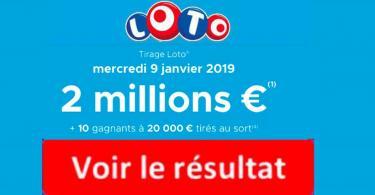 fdj résultat loto 9 janvier 2019