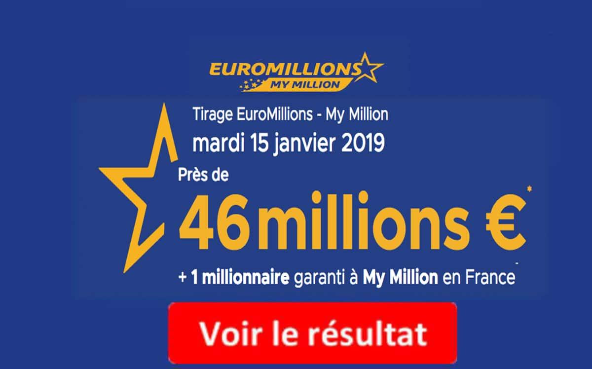 resultat euromillions mardi 15 janvier 2019