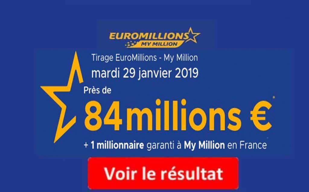 resultat euromillion mardi 29 janvier 2019