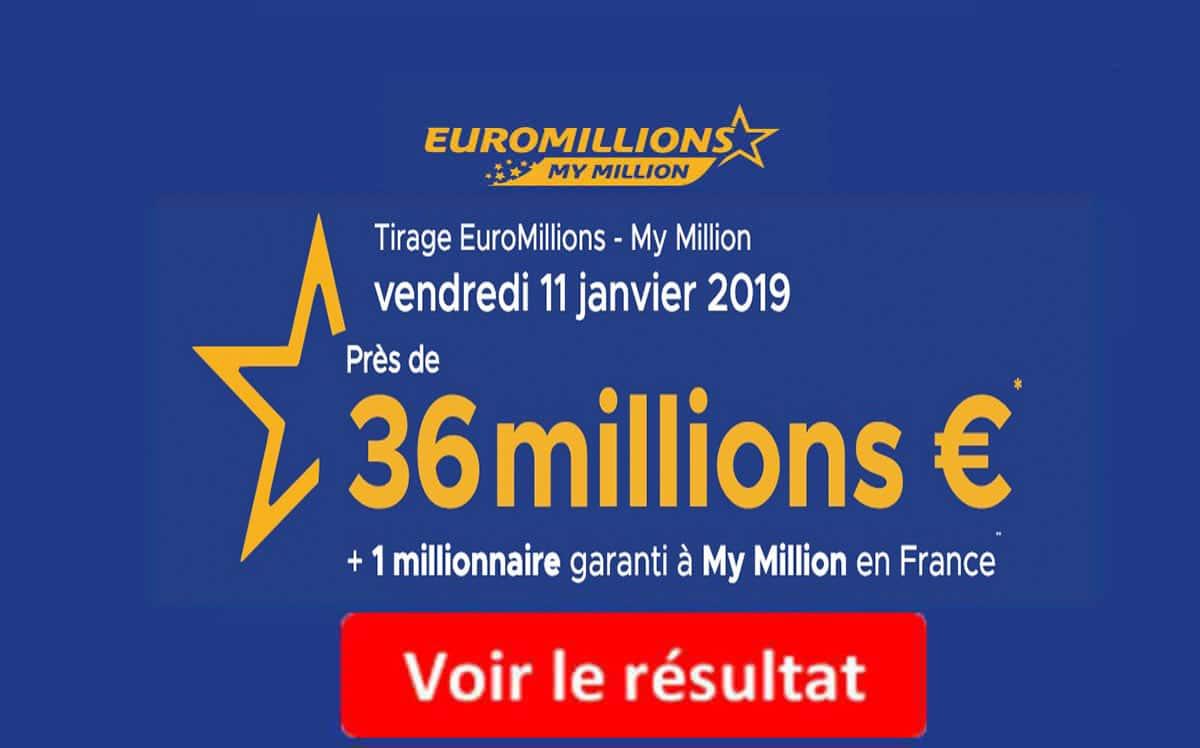 resultat euromillion vendredi 11 janvier 2019
