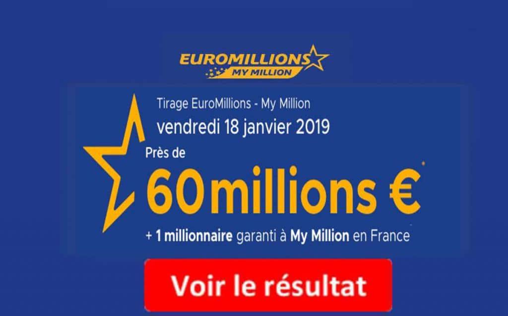 resultat euromillion vendredi 18 janvier 2019