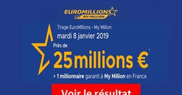 resultat euromillions mardi 8 janvier 2019