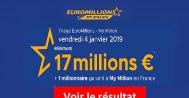 FDJ resultat euromillions 4 janvier 2019