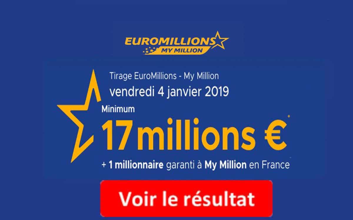 5b8780a79e73bb FDJ  Résultat Euromillions, My Million Vendredi 4 Janvier 2019  En ...