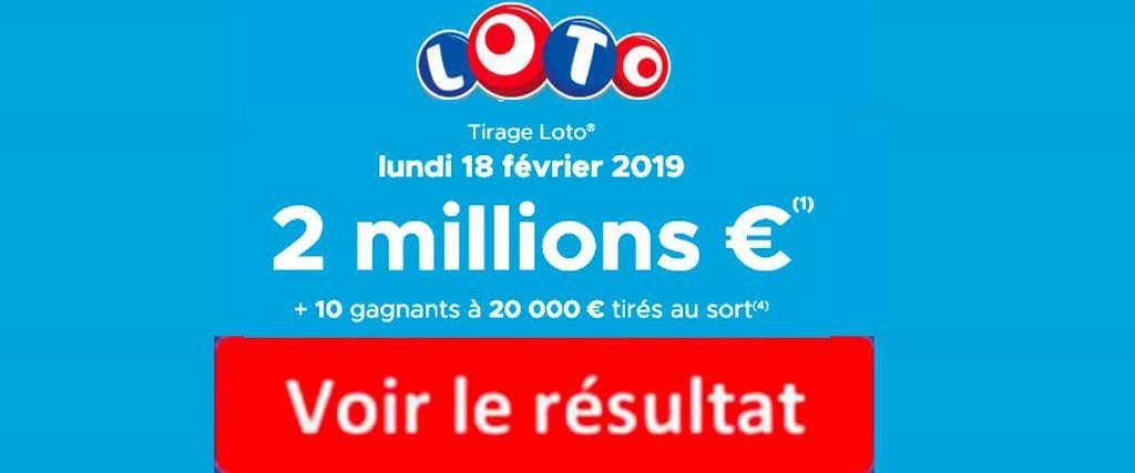 resultat loto 18 février 2019