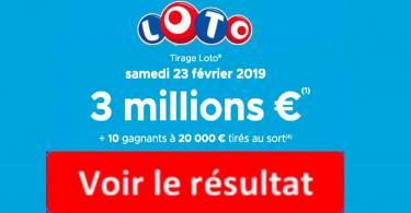 résultat loto 23 février 2019